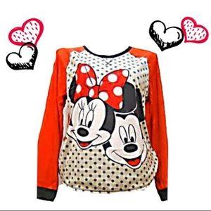 NWT Disney Micro-fleece Minnie & Mickey PJ Top